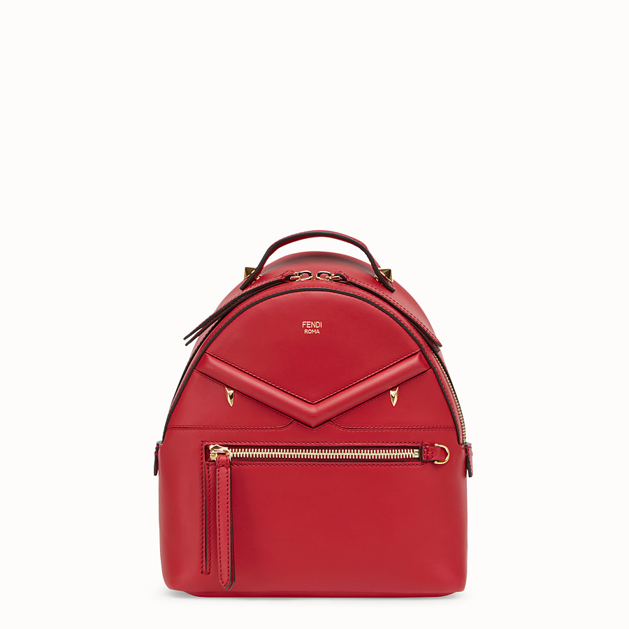 FENDI MINI BACKPACK - Small red leather backpack - view 1 detail