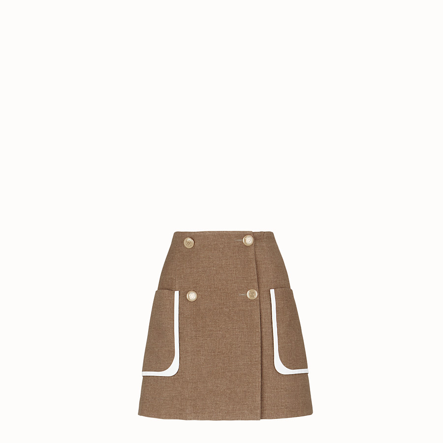 FENDI SKIRT - Beige silk and wool skirt - view 1 detail