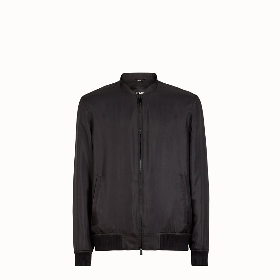 FENDI BOMBER - Black silk bomber jacket - view 1 detail