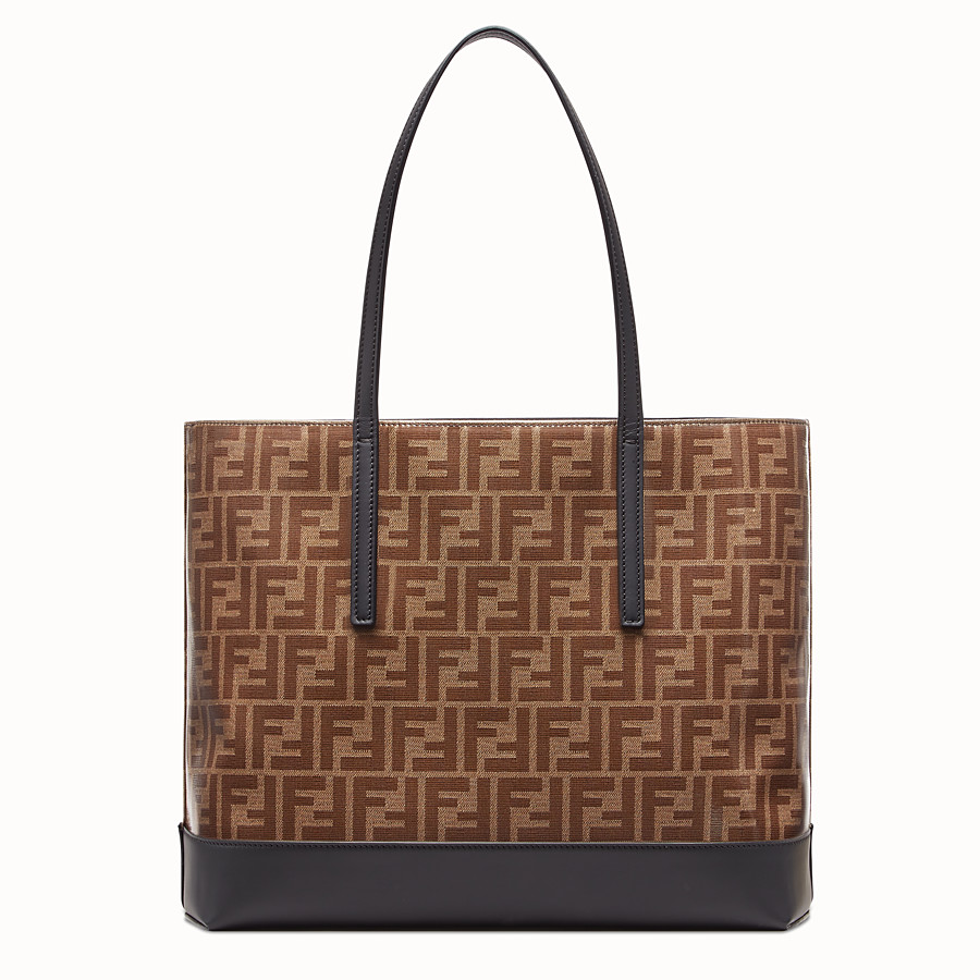 FENDI SHOPPING LOGO - Brown leather shopper - view 3 detail