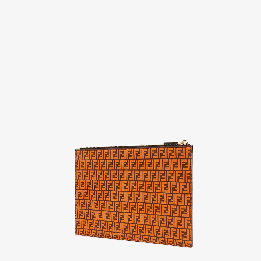 FENDI FLAT POUCH MEDIUM - Orange leather pouch - view 2 detail