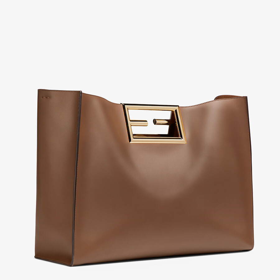 FENDI FENDI WAY LARGE - Dark brown leather bag - view 3 detail