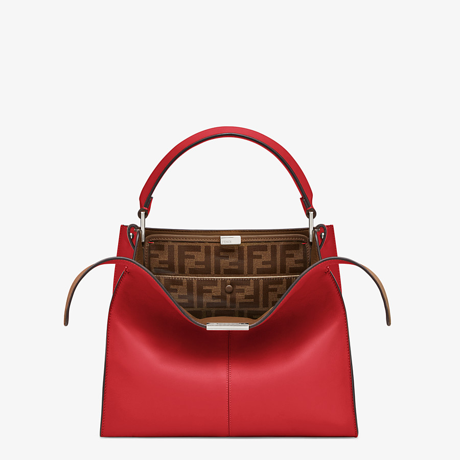 FENDI PEEKABOO X-LITE MEDIUM - Tasche aus Leder in Rot - view 1 detail