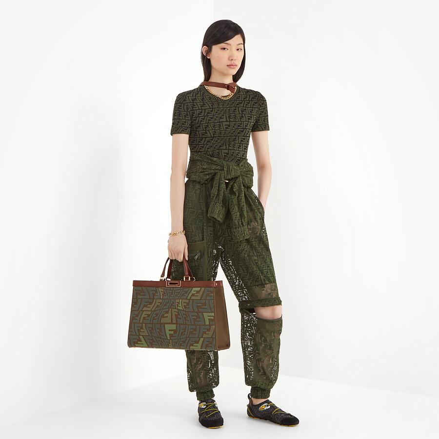 FENDI PEEKABOO X-TOTE - Embroidered green canvas bag - view 2 detail