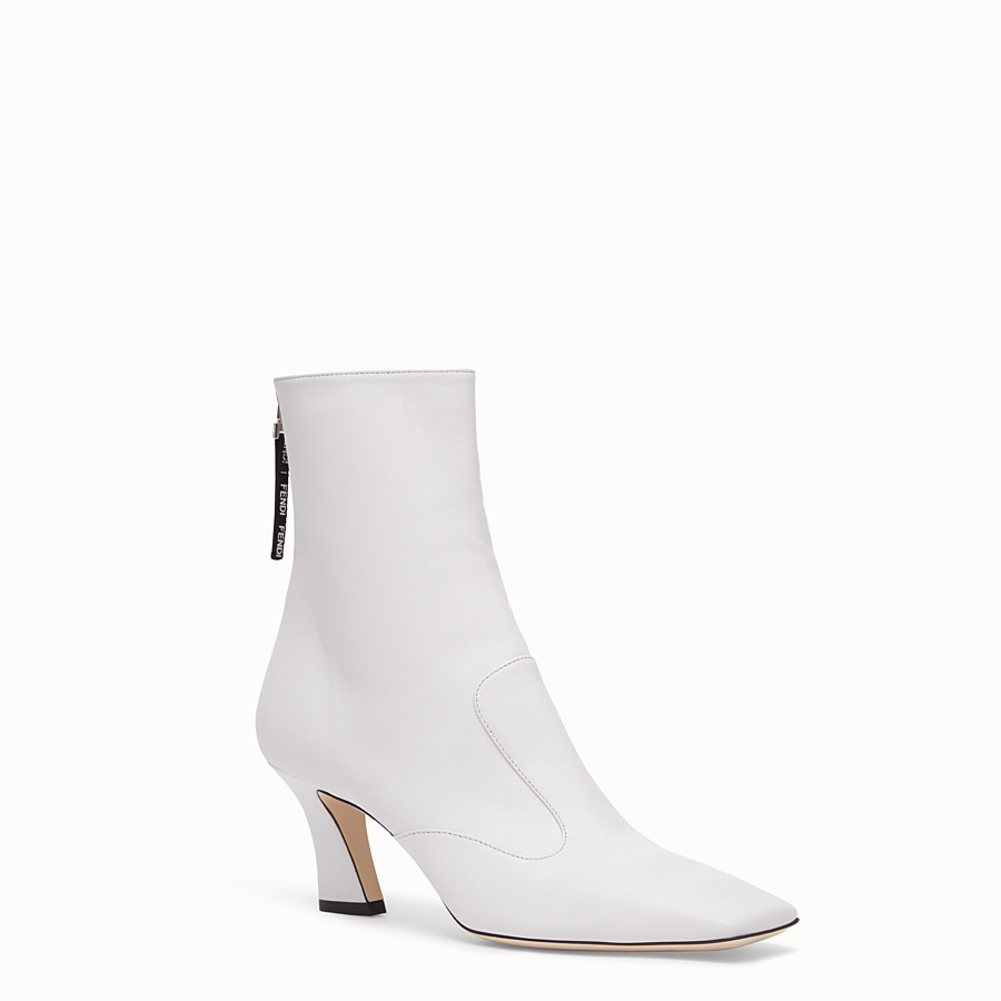 FENDI BOOTS - White nappa leather booties - view 2 detail