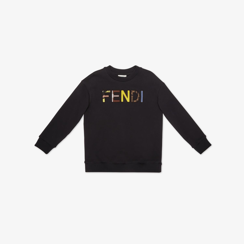 FENDI JUNIOR SWEATSHIRT - Black cotton junior sweatshirt with multicolor Fendi embroidery - view 1 detail
