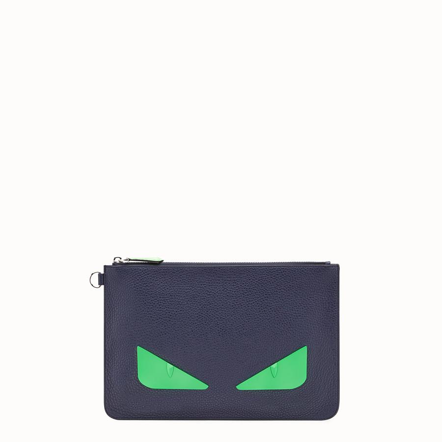 FENDI POUCH - Blue Romano leather pochette - view 1 detail