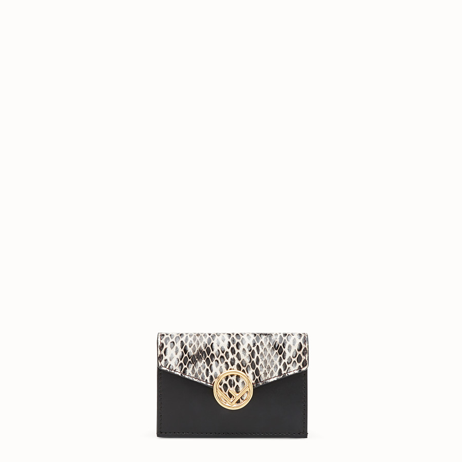 FENDI MICRO TRIFOLD - Black leather wallet with exotic details - view 1 detail
