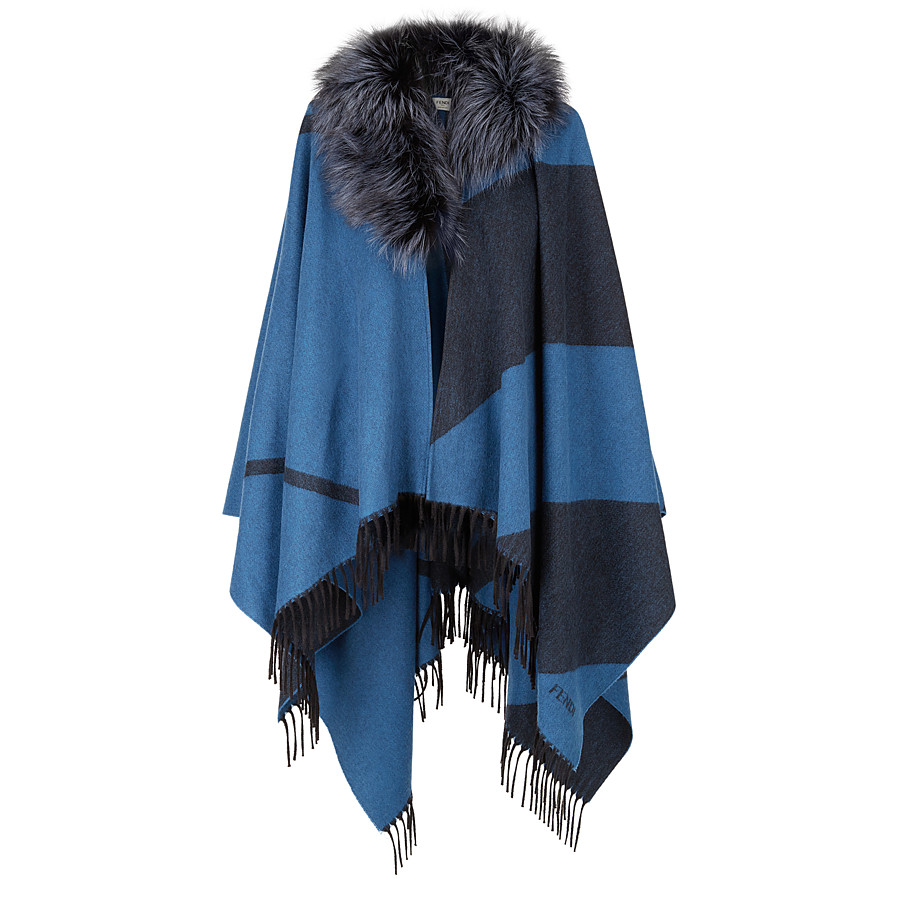 FENDI PONCHO - in cashmere and wool with fur - view 1 detail