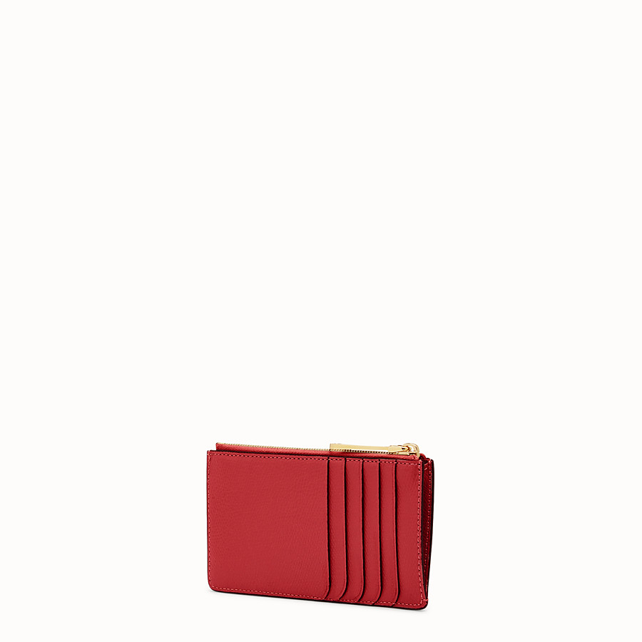 FENDI CARD POUCH - Red leather pouch - view 2 detail