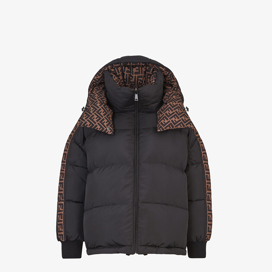 FENDI JACKET - Black nylon down jacket - view 1 detail