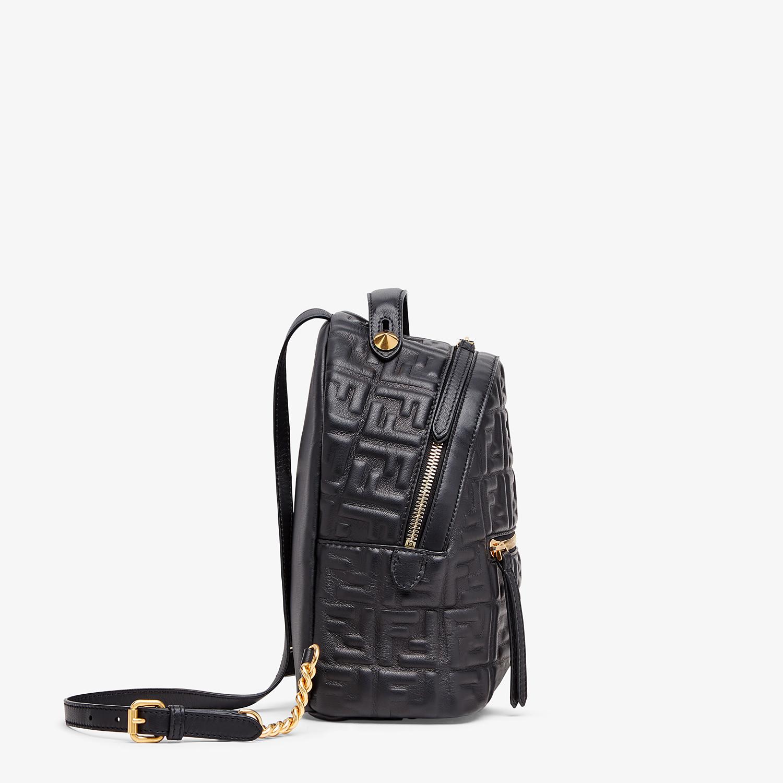 FENDI MINI BACKPACK - Black leather FF backpack - view 3 detail