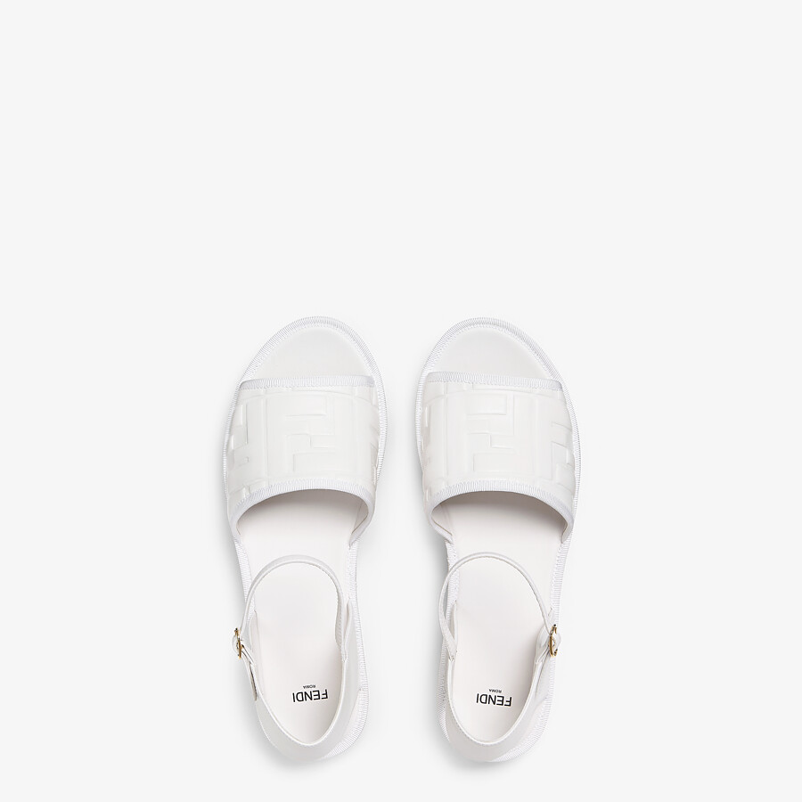 FENDI ESPADRILLES - White leather flatform espadrilles - view 4 detail
