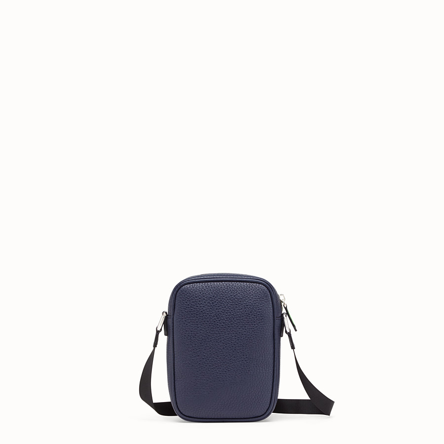 FENDI SMALL MESSENGER - Cross-body in blue Romano leather - view 3 detail