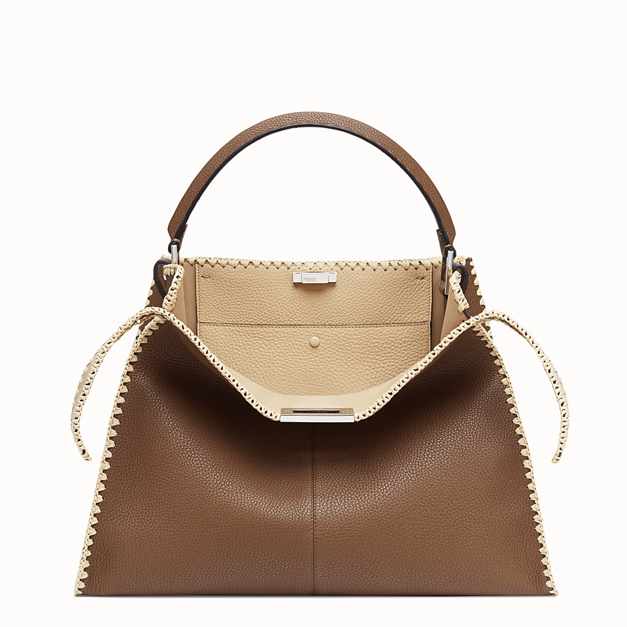 FENDI PEEKABOO X-LITE LARGE - Brown leather bag - view 1 detail