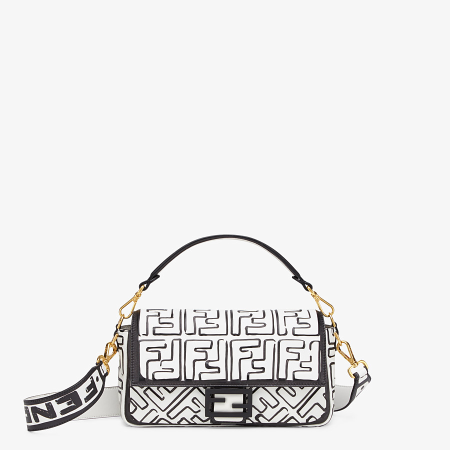 FENDI BAGUETTE - White nappa leather FF print bag - view 1 detail