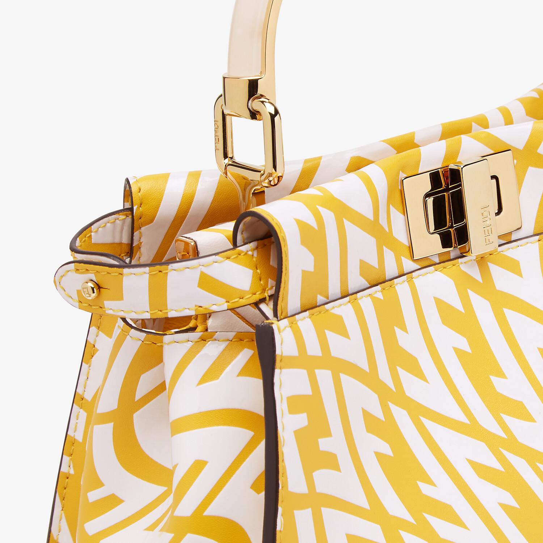 FENDI PEEKABOO MINI - Yellow and white FF Vertigo leather bag - view 6 detail