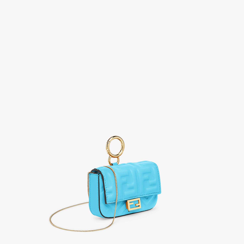 FENDI NANO BAGUETTE CHARM - Light blue nappa leather - view 3 detail