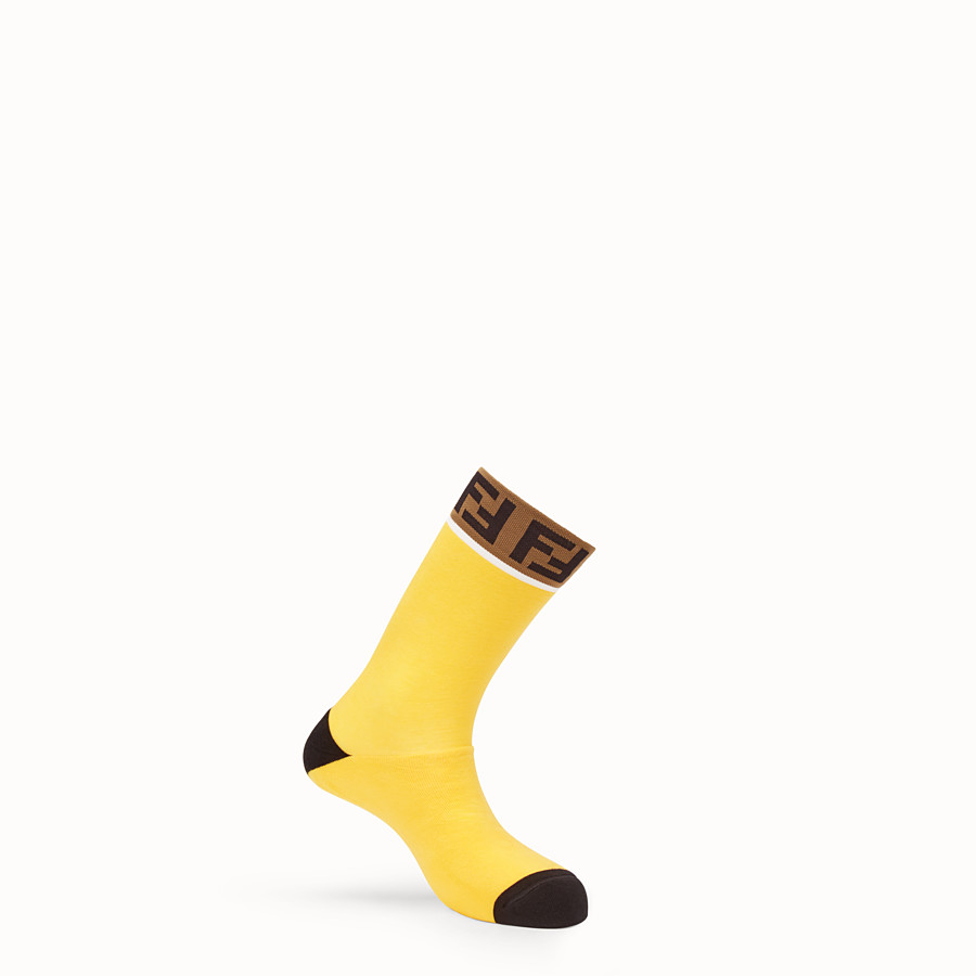 FENDI SOCKS - Yellow stretch cotton socks - view 1 detail