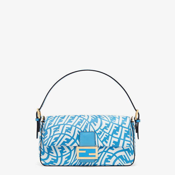 Blue glazed canvas bag