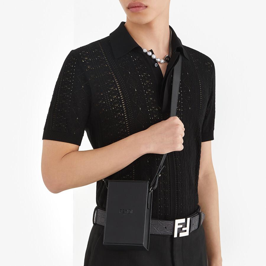 FENDI POLO SHIRT - Black viscose polo shirt - view 4 detail