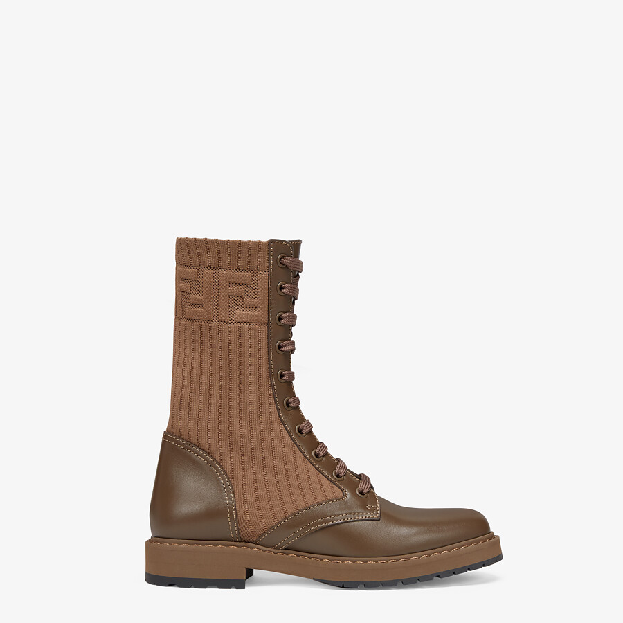 FENDI ROCKOKO - Brown leather biker boots with stretch fabric - view 1 detail