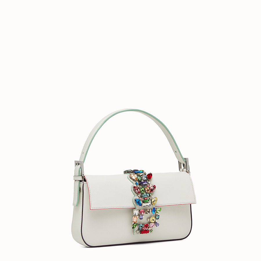 FENDI BAGUETTE - white leather shoulder bag with rhinestones - view 2 detail