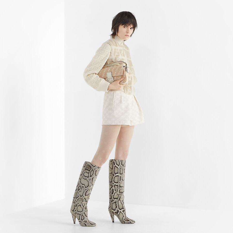 FENDI KARLIGRAPHY - High-heeled boots in brown python - view 5 detail