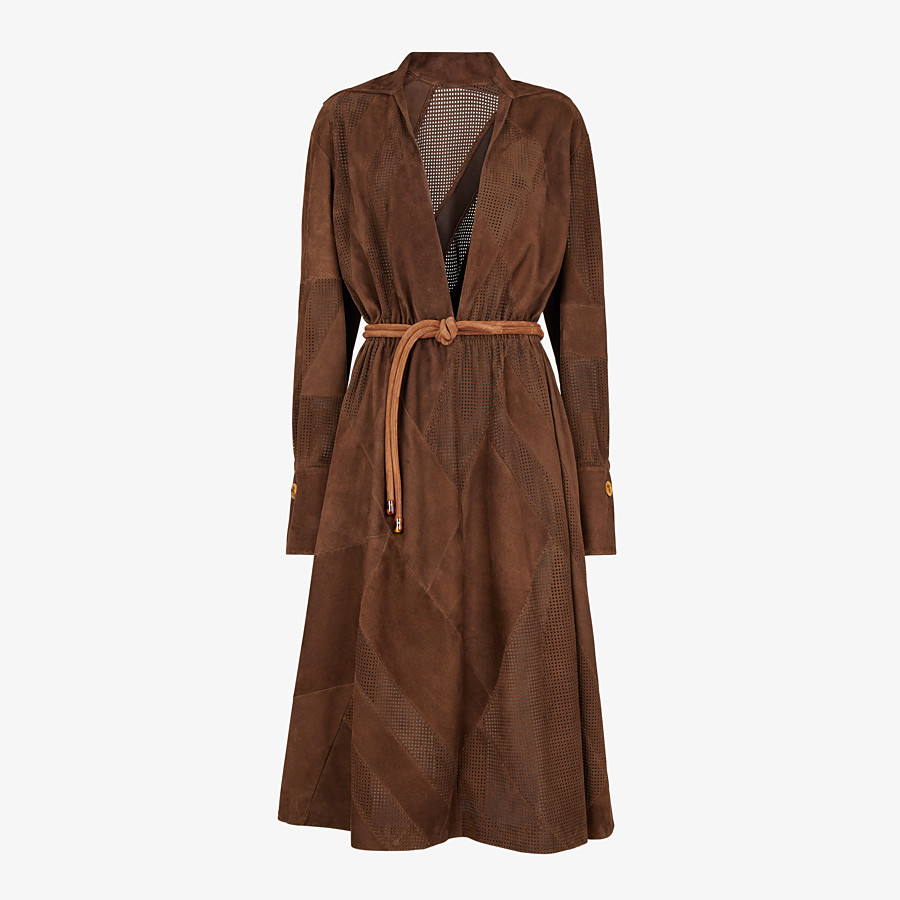 FENDI DRESS - Brown suede dress - view 1 detail
