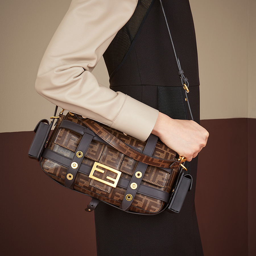 FENDI BAGUETTE WITH CAGE - Brown fabric bag - view 2 detail