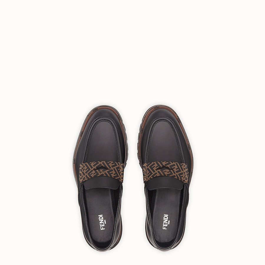 FENDI LOAFERS - Black leather and TPU loafers - view 4 detail