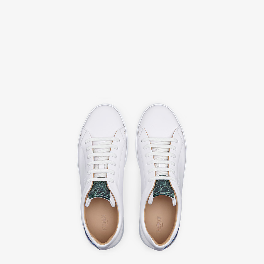 FENDI SNEAKERS - White leather low-tops with exotic details - view 4 detail
