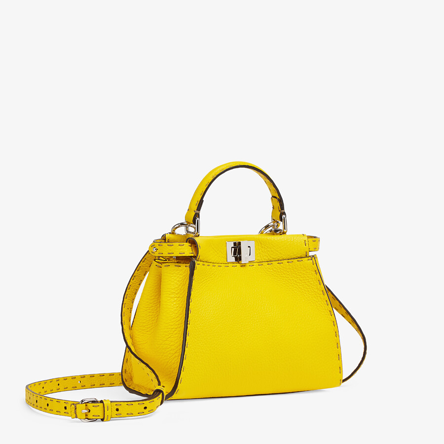 FENDI PEEKABOO ICONIC MINI - Yellow Cuoio Romano leather bag - view 2 detail
