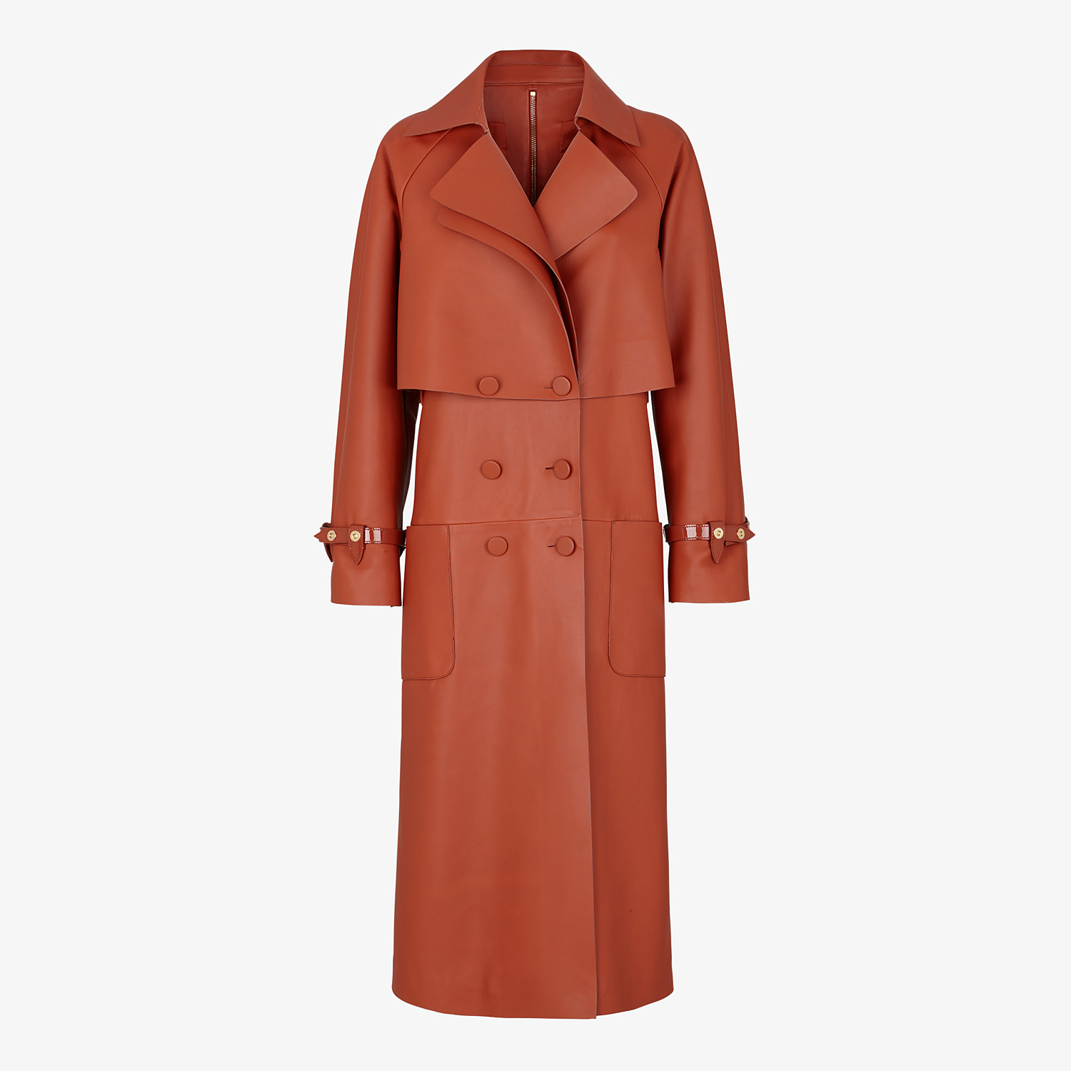 FENDI TRENCH COAT - Brown leather trench coat - view 1 detail