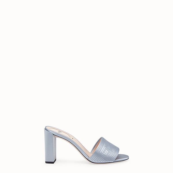 FENDI SABOTS - Grey satin high sandals - view 1 small thumbnail