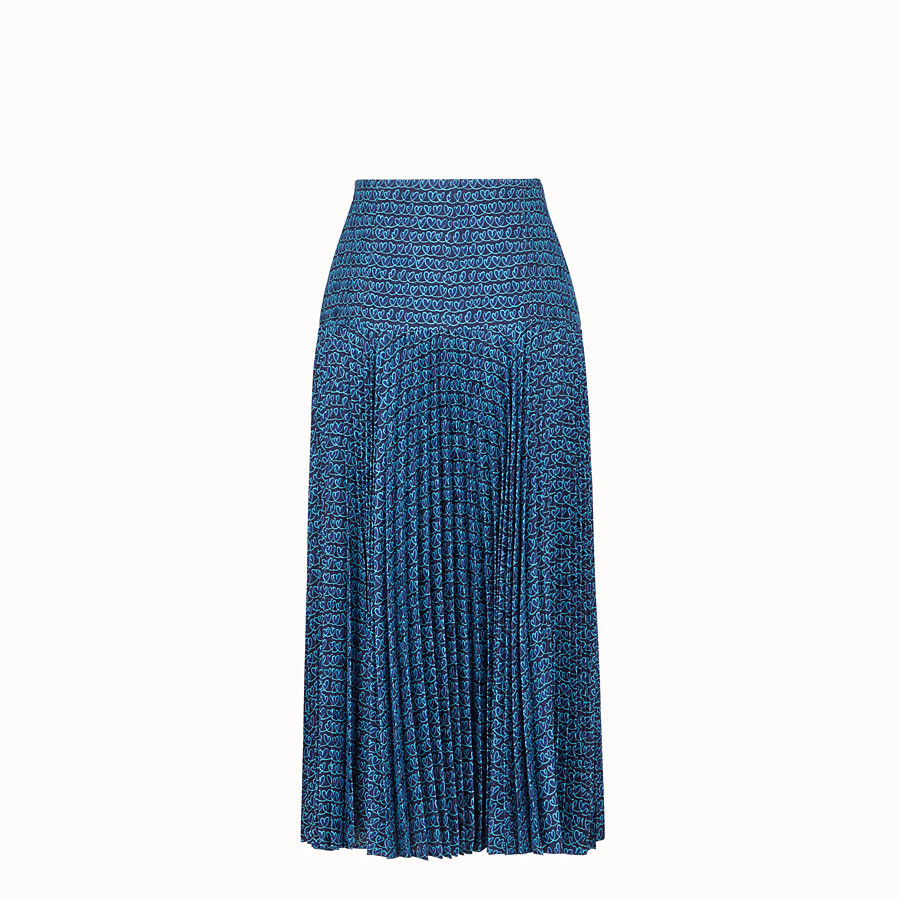 FENDI SKIRT - Blue satin skirt - view 2 detail