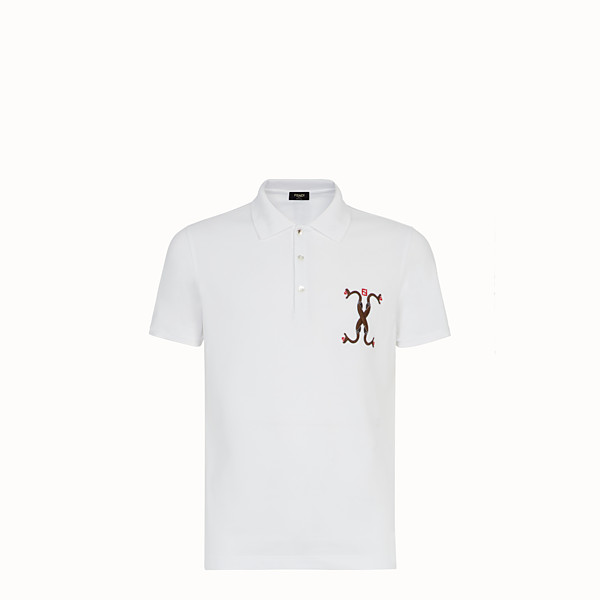 FENDI T-SHIRT - White cotton polo shirt - view 1 small thumbnail