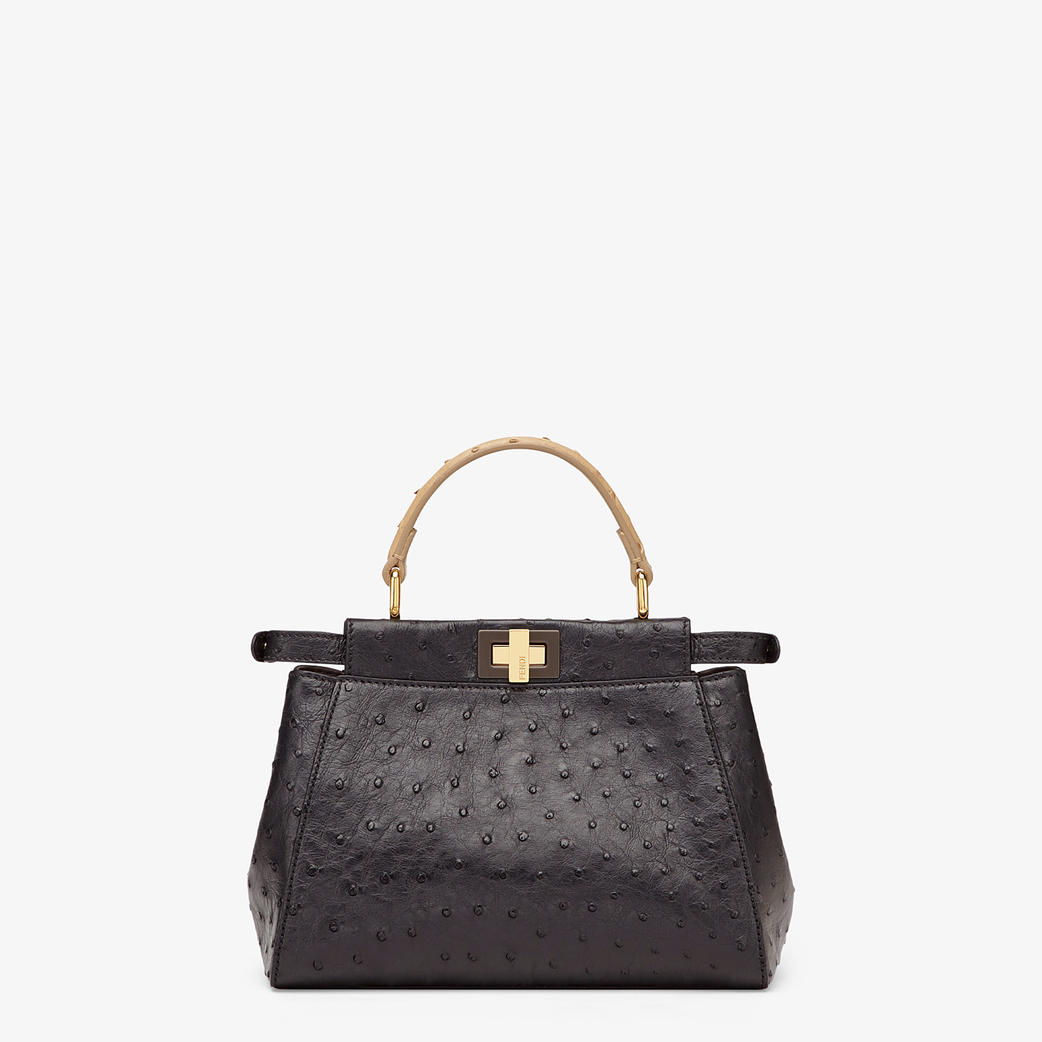 FENDI PEEKABOO ICONIC MINI - Black ostrich leather bag - view 3 detail