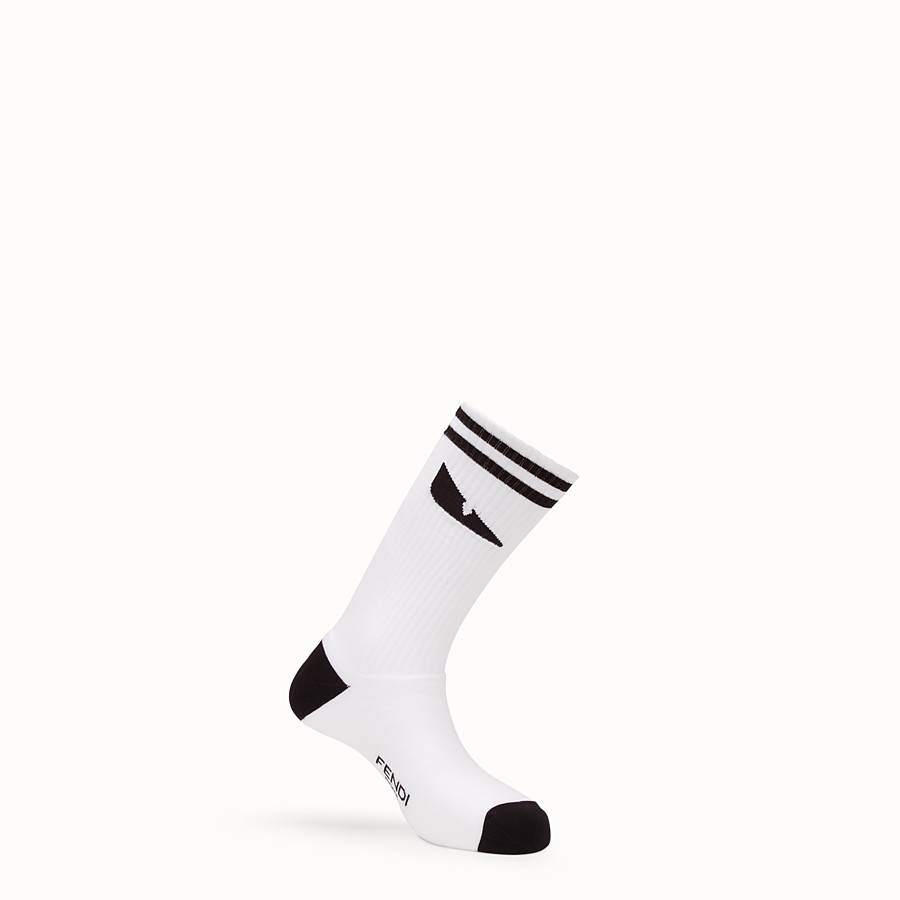 FENDI SOCKS - White stretch cotton socks - view 1 detail