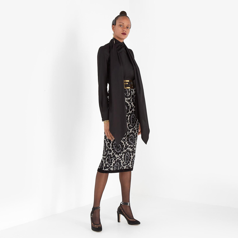 FENDI SKIRT - Gray knit skirt - view 4 detail