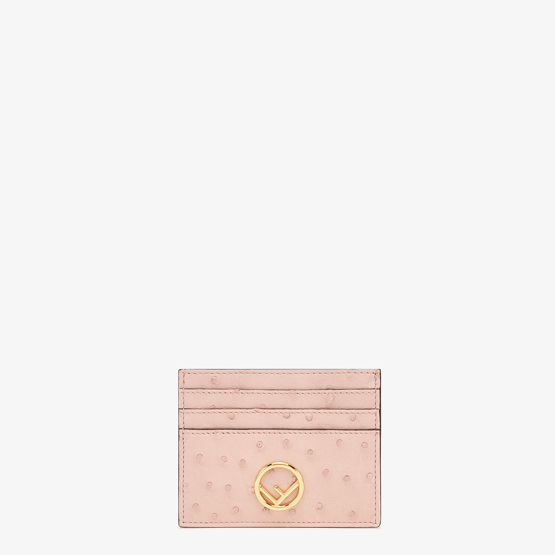 FENDI CARD HOLDER - Pink ostrich leather flat card holder - view 1 detail
