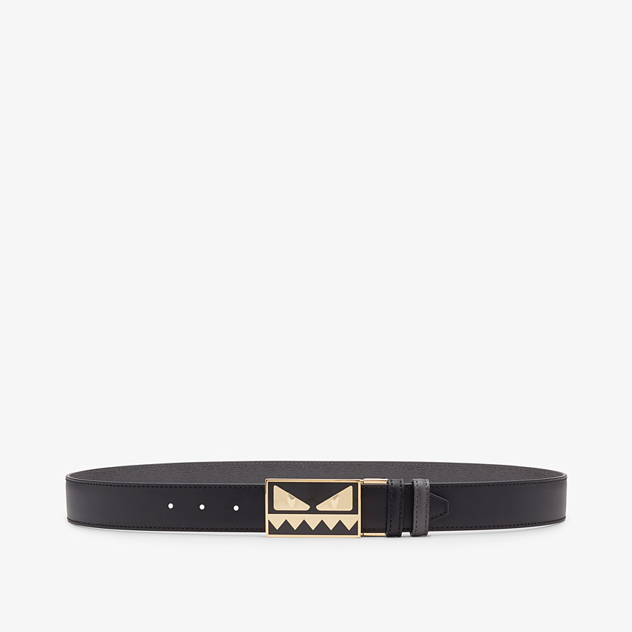 FENDI BELT - Black and gray leather belt - view 1 detail