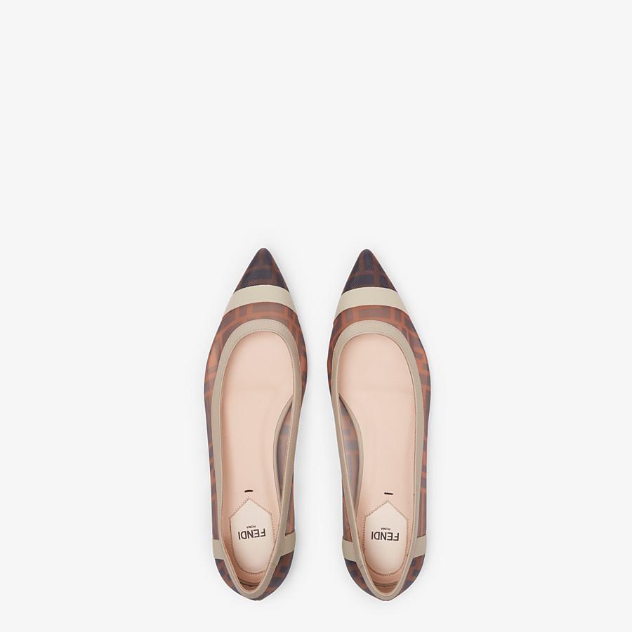 FENDI BALLERINAS - Flache Schuhe aus Netzgewebe und Leder in Weiß - view 4 detail