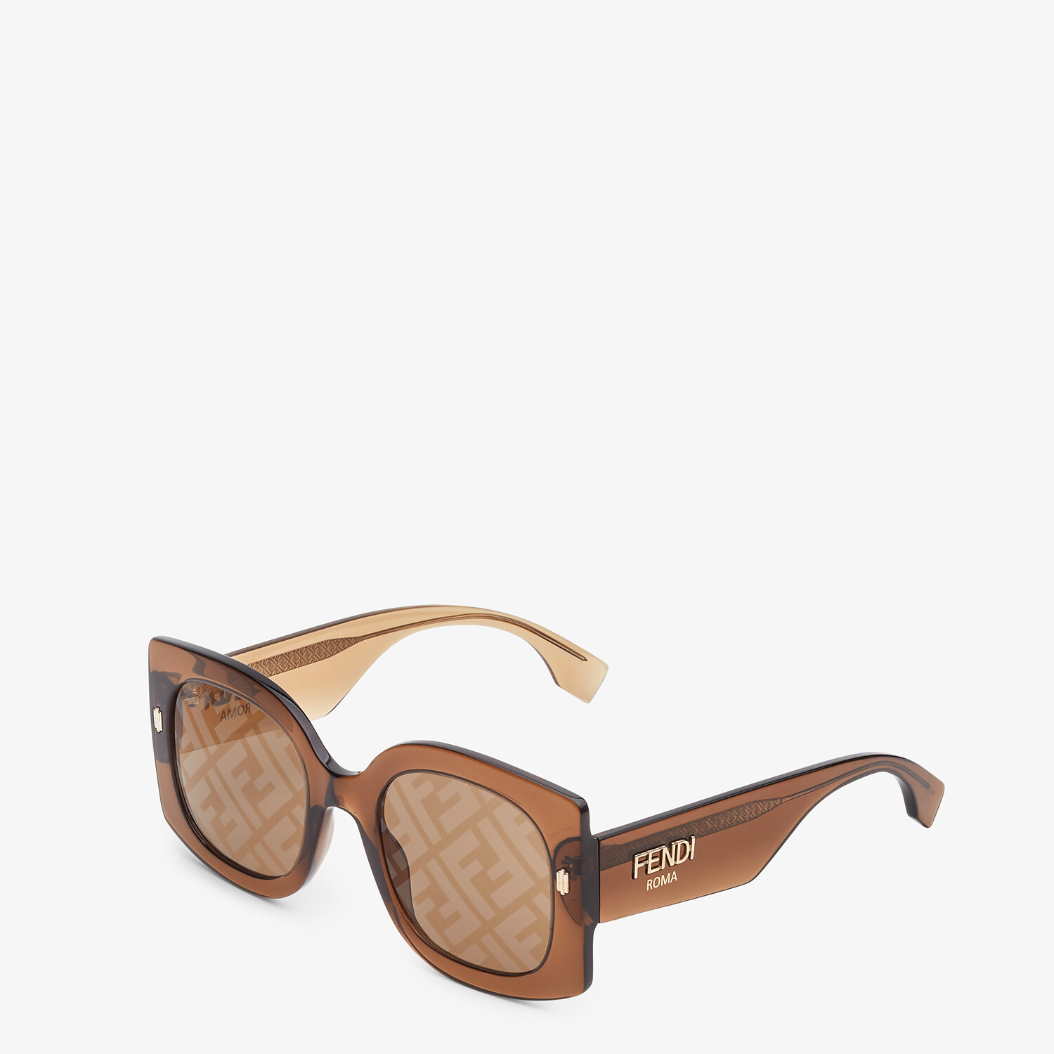 FENDI FENDI ROMA - Sunglasses in transparent brown acetate - view 2 detail