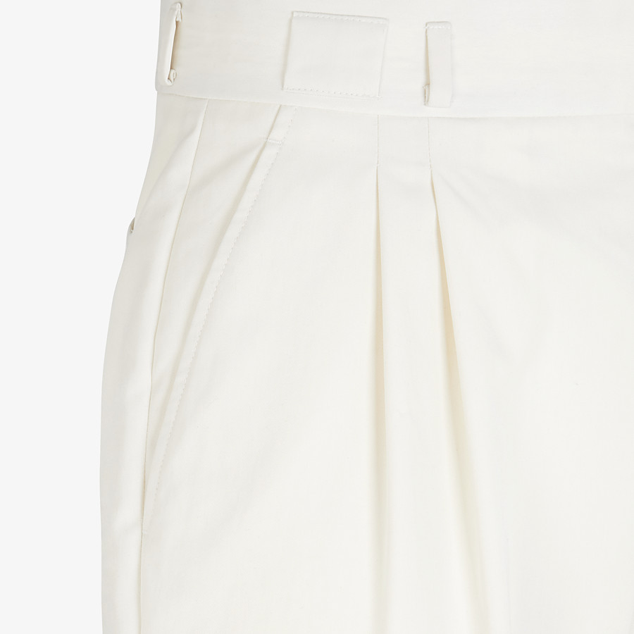 FENDI TROUSERS - White cotton trousers - view 3 detail