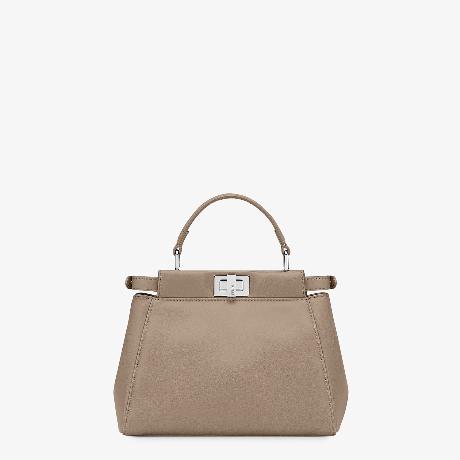 FENDI PEEKABOO ICONIC MINI - Dove grey leather hand bag - view 4 detail