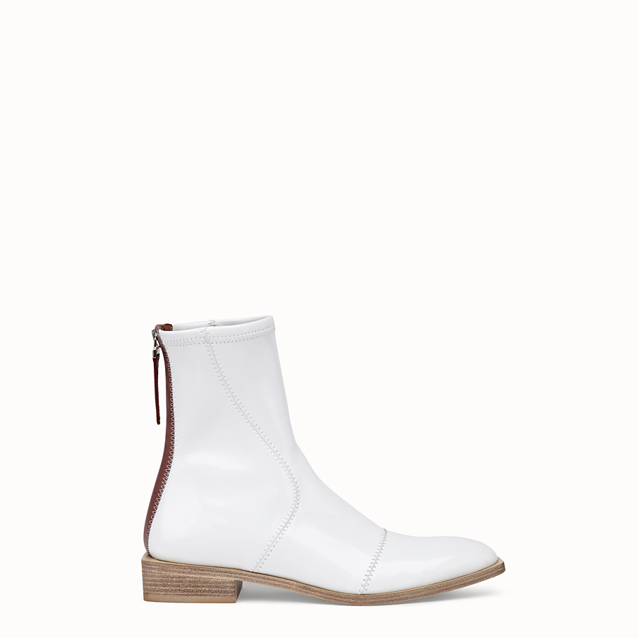 FENDI ANKLE BOOTS - White glossy neoprene low ankle boots - view 1 detail
