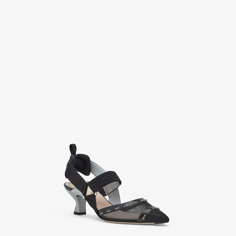 FENDI COLIBRÌ - Black mesh, medium-heel slingbacks with metal stitches - view 2 detail