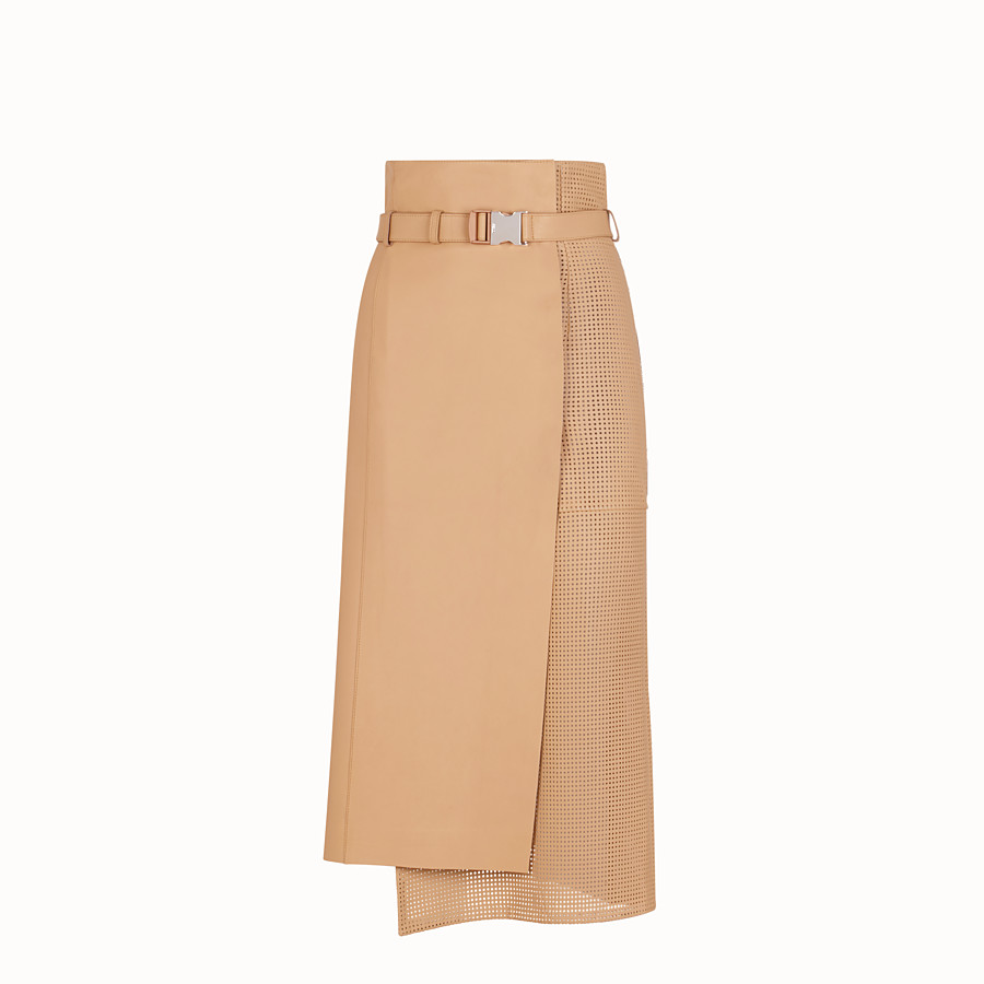 FENDI SKIRT - Beige nappa leather skirt - view 1 detail