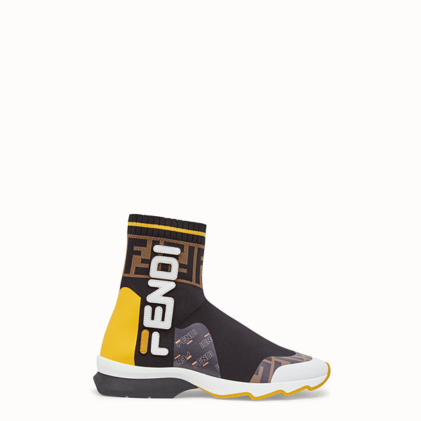 FENDI SNEAKERS - Multicolour fabric sneaker boots - view 1 small thumbnail